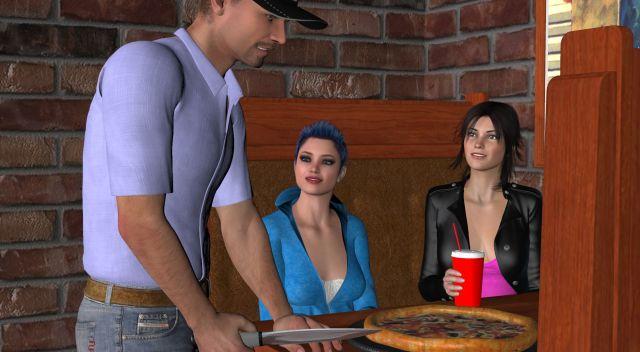 Evan brings the pizza